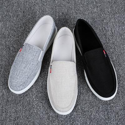 夏季透气男鞋休闲老北京布鞋男懒人一脚蹬帆布鞋子男潮鞋男士板鞋