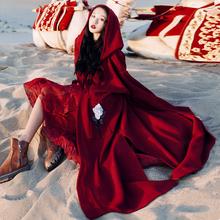 新疆拉萨西藏旅游衣服女装拍照斗篷外套慵懒风连帽针织开衫毛衣春