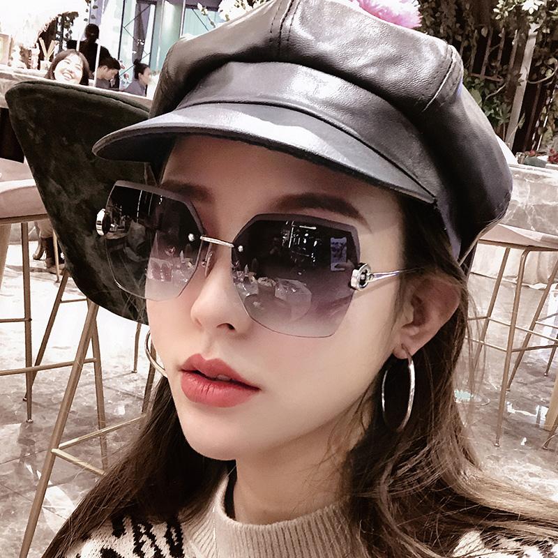 无框水晶切边多边形眼镜防紫外线墨镜女士复古潮2020新款太阳镜女