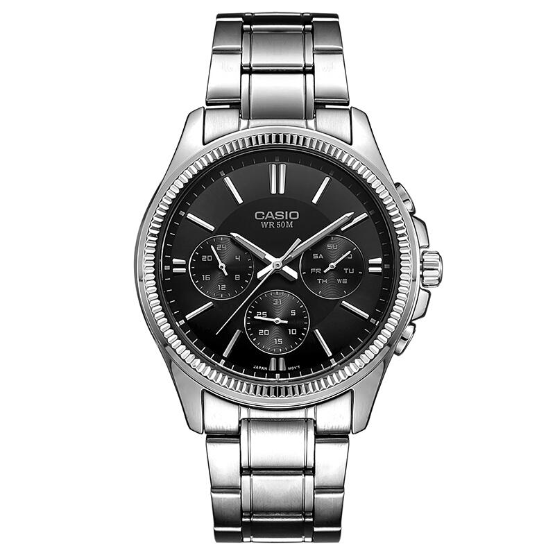 正品casio卡西欧手表简约钢带防水男士石英学生男表MTP-1375D-1A