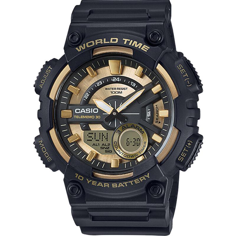 CASIO卡西欧手表时尚指针双显防水防震运动电子男表AEQ-110BW-9A