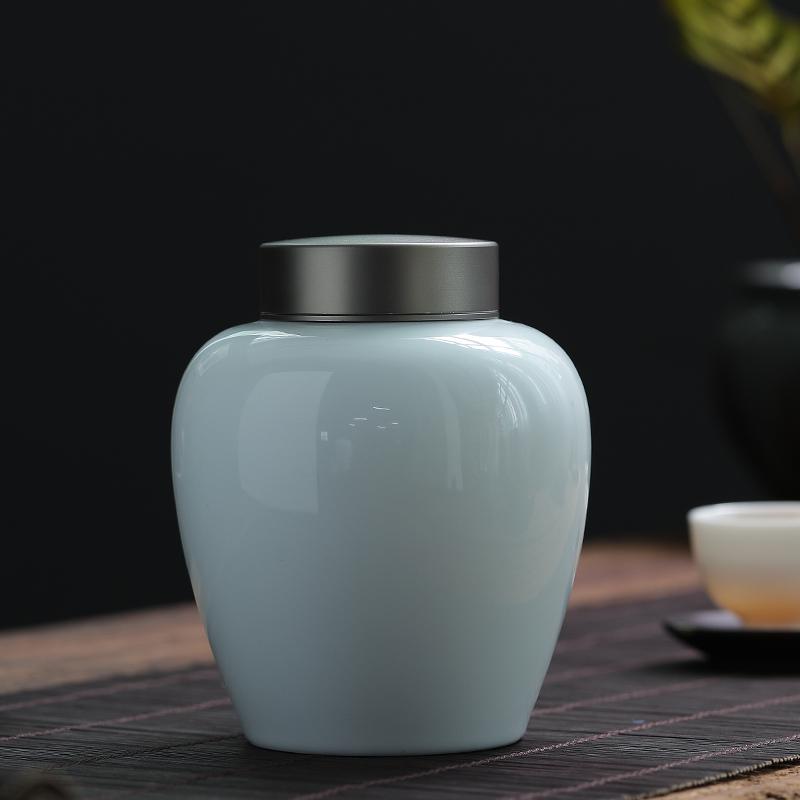 创窑粉青陶瓷茶叶罐白瓷木盖密封罐茶罐大小