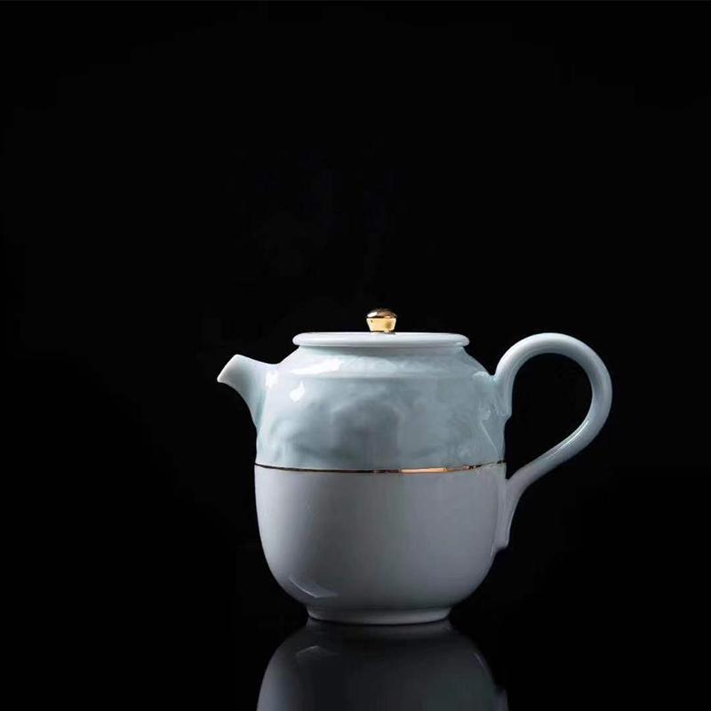 创窑雅逸系列手绘浮雕青瓷釉色茶具复古茶具