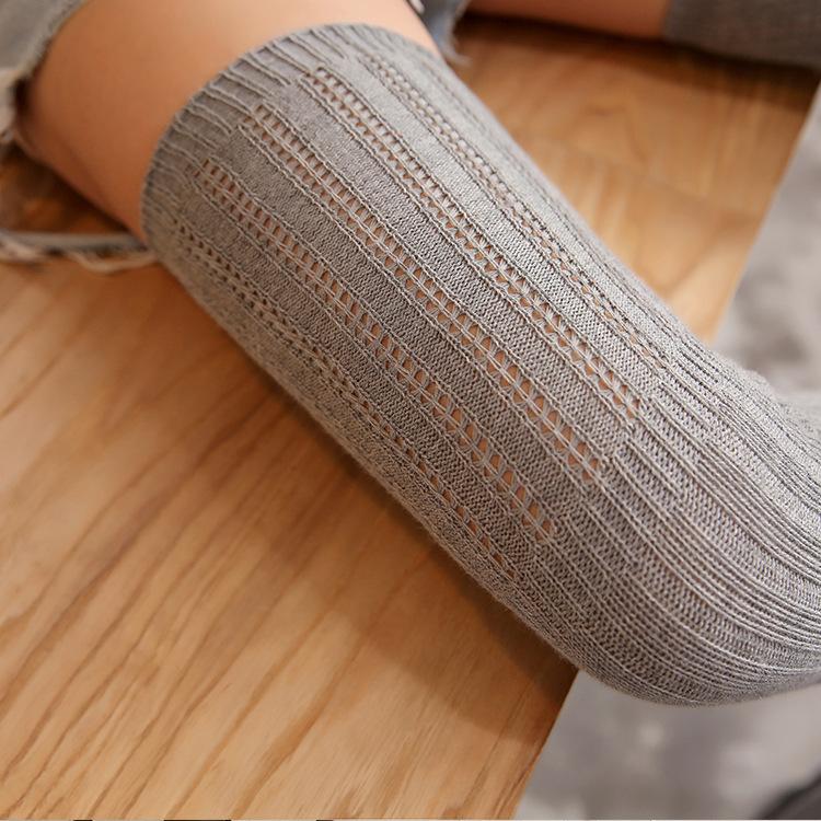 AXZYX打底过膝袜女纯棉春秋大腿袜过膝纯色透气镂空学生长筒袜竖