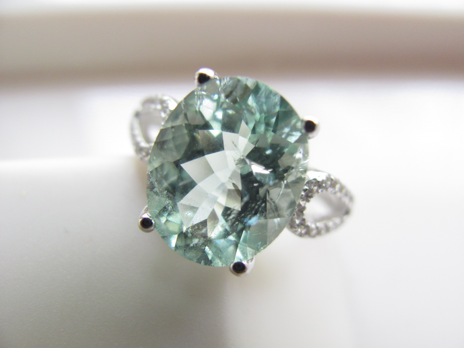 Flaws S925 pure silver natural Aquamarine lake green oval super large Aquamarine Ring Ring meson 512