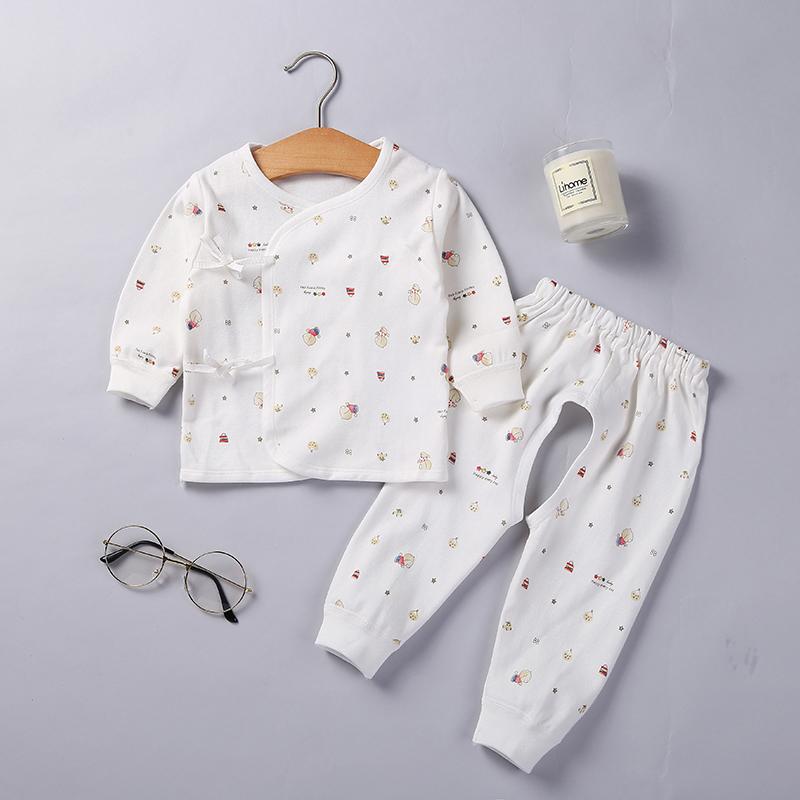 初生婴儿内衣套装纯棉男女宝宝秋衣新生儿纯色衣服和尚服春秋冬季