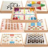 多功能游戏棋盘多合一棋牌类幼儿童下棋亲子玩具益智思维训练桌游