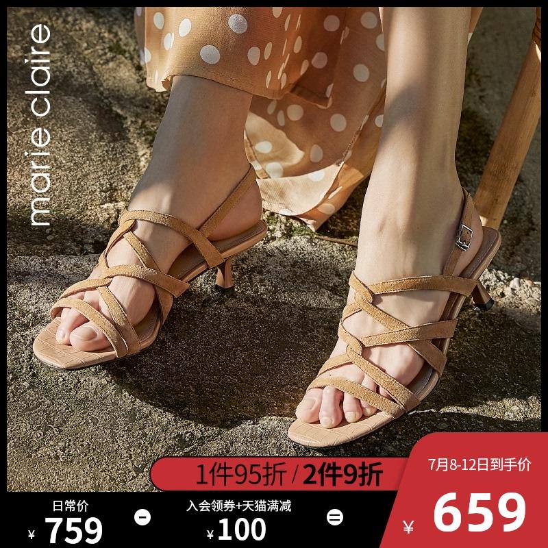 Marie Claire2020夏新款法式復古羅馬涼鞋小貓跟細帶時裝涼鞋