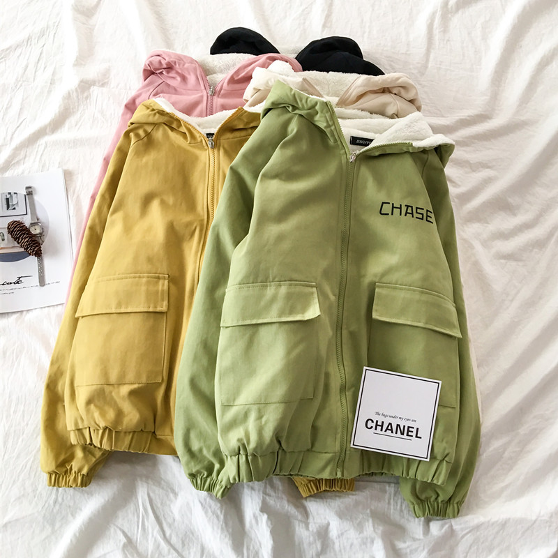 Fall / winter 2019 new fashion Plush jacket coat womens double pocket green hooded student work uniform baseball uniform