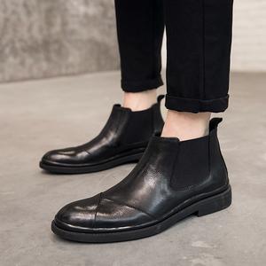冬季男靴子英倫復古男士真皮短靴切爾西皮靴馬丁靴男高幫保暖皮鞋