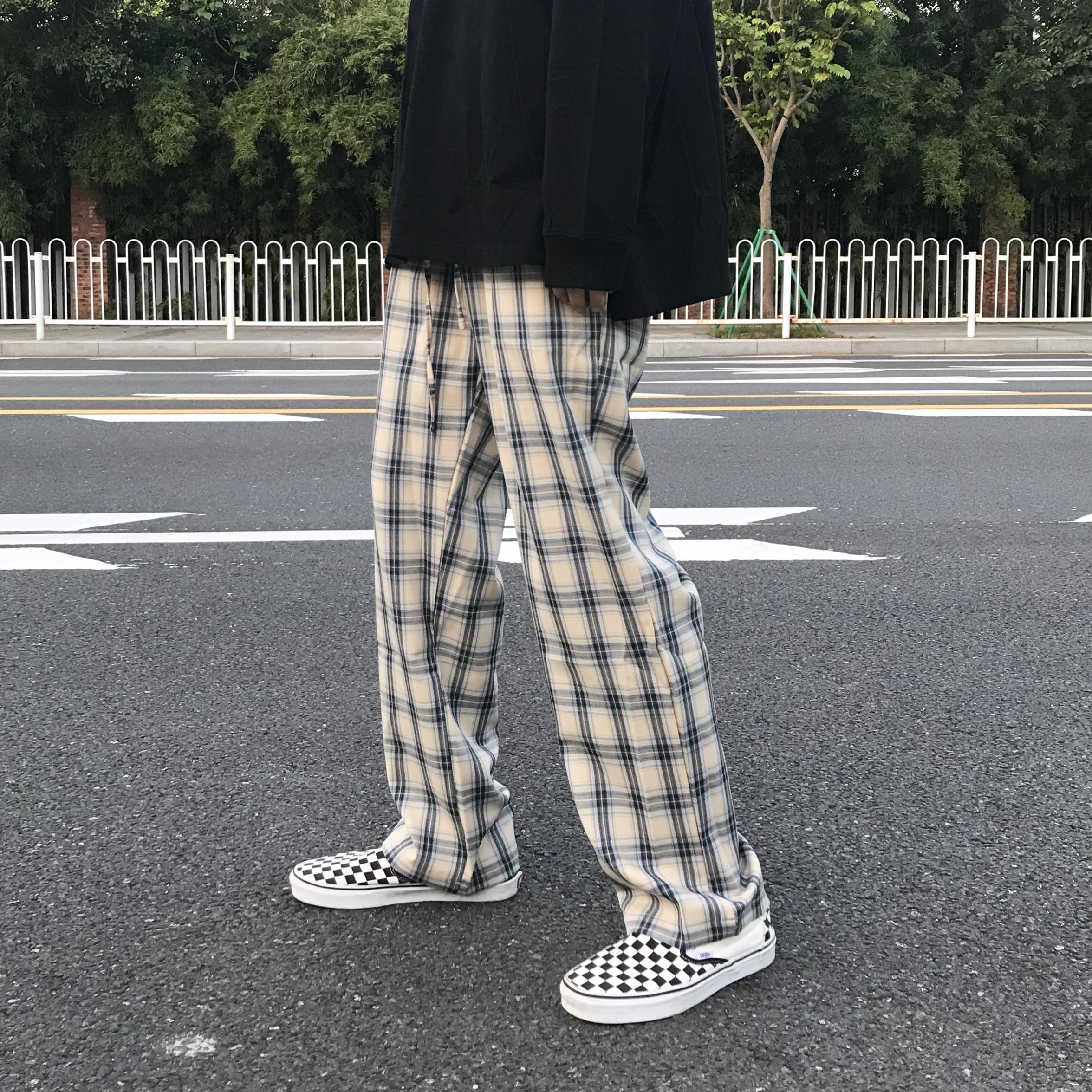 官方店HUFFNPUFF格子裤长裤潮牌直筒宽松垂感HUFFNPFF男女同款