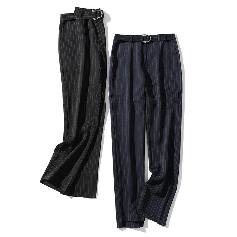 利落版型,通勤风也要超时髦!棉纺条纹中腰收腿锥型长裤 淘么淘