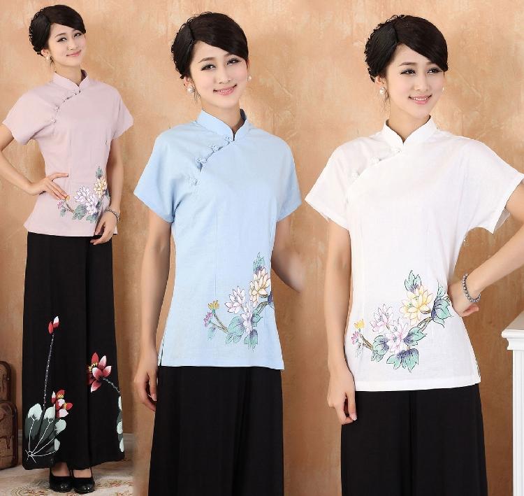 中国风夏季棉麻上衣大码文化中式女装改良汉服唐装女士夏装女茶服
