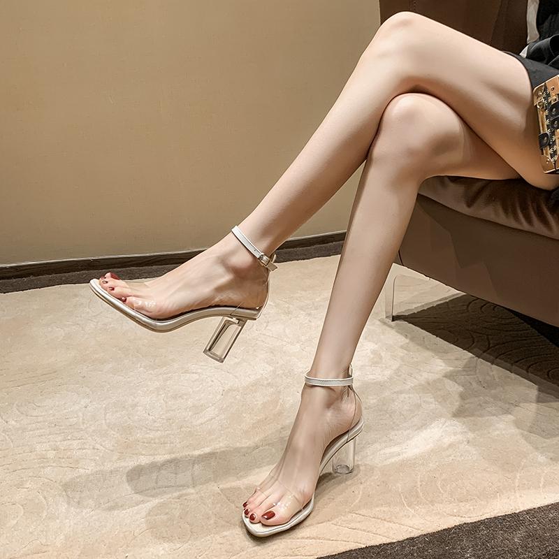 透明女凉鞋水晶鞋2021夏季新款百搭一字扣带仙女风粗跟露趾高跟鞋