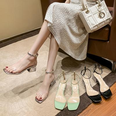 2021夏季新款女凉鞋一字扣带中跟水晶鞋网红粗跟透明仙女凉鞋方头