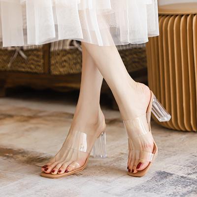 2021年新款夏季透明凉鞋女中跟粗跟水晶高跟鞋仙女风一字带凉拖鞋