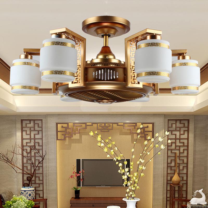 复古新中式风扇灯仿古卧室客厅餐厅吊扇灯负离子隐形电风扇吊灯具