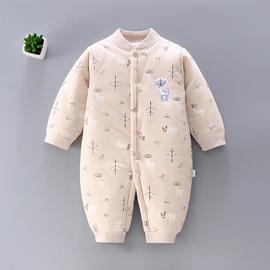 初生婴儿连体衣保暖加厚棉衣秋冬装新生儿纯棉衣服夹棉服宝宝哈衣