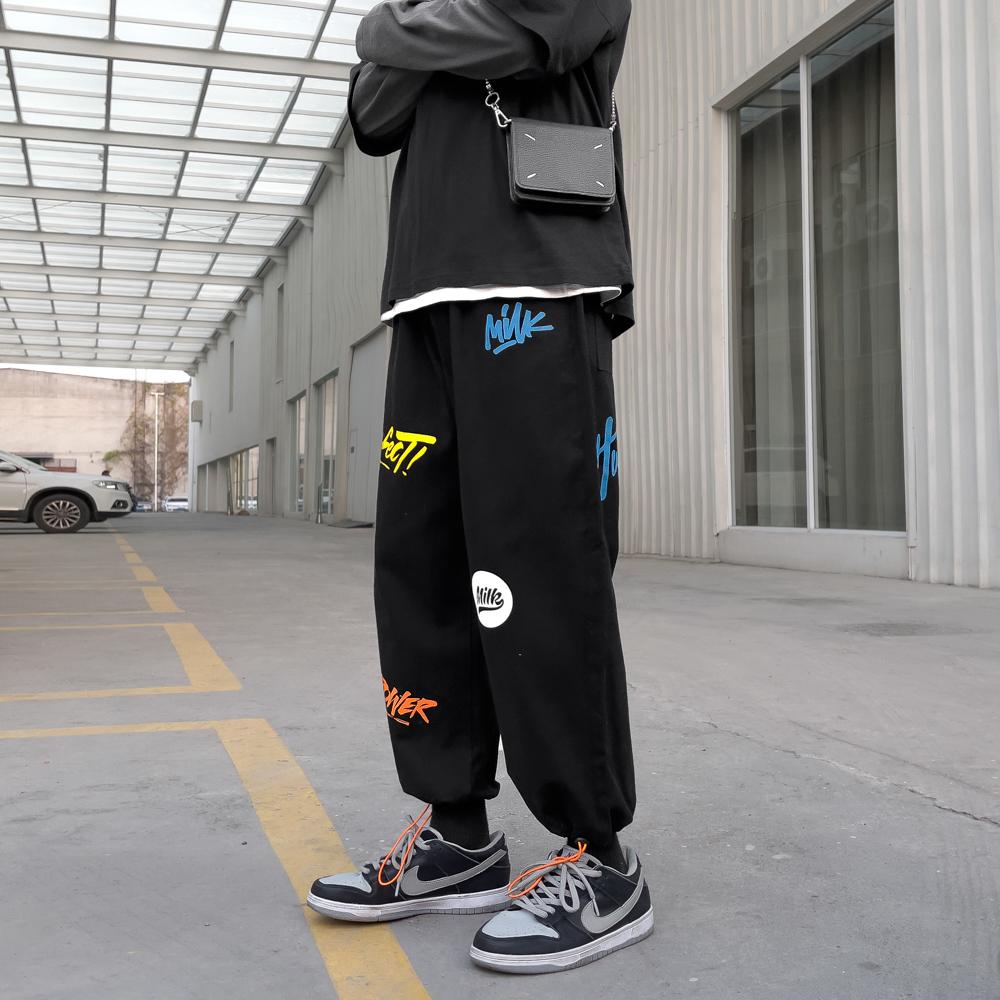 2021港风秋季 新款 涂鸦休闲裤A009-K434-P50 拼黑色