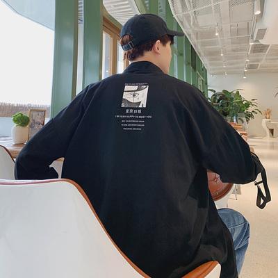 衬衫男韩版潮流工装帅气长袖袖加大码衬衣新款宽松外套9316-P45