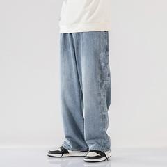 牛仔裤男士直筒宽松裤子韩版潮流大码阔腿休闲九分裤K177-P55控75
