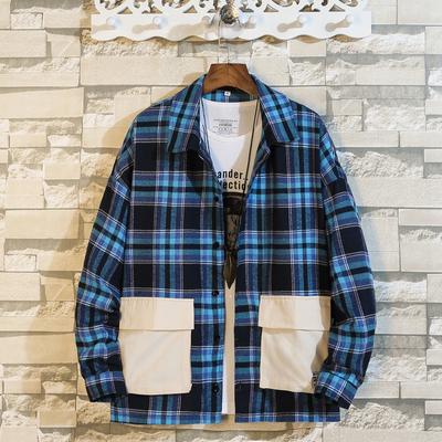 秋装格子长袖1衬衫男士宽松加大码多口袋休闲衬衣外套9322-P55