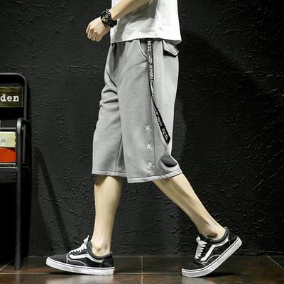 8夏季男士大码七分裤日系裤子潮流个性宽松运动休闲裤9221-P45