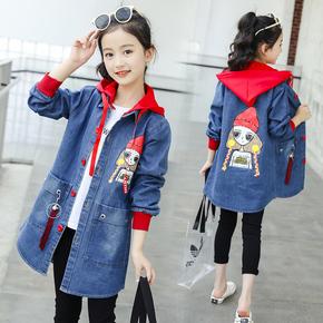 女童春装外套2021新款大儿童装春秋韩版中长款女孩加绒厚牛仔上衣