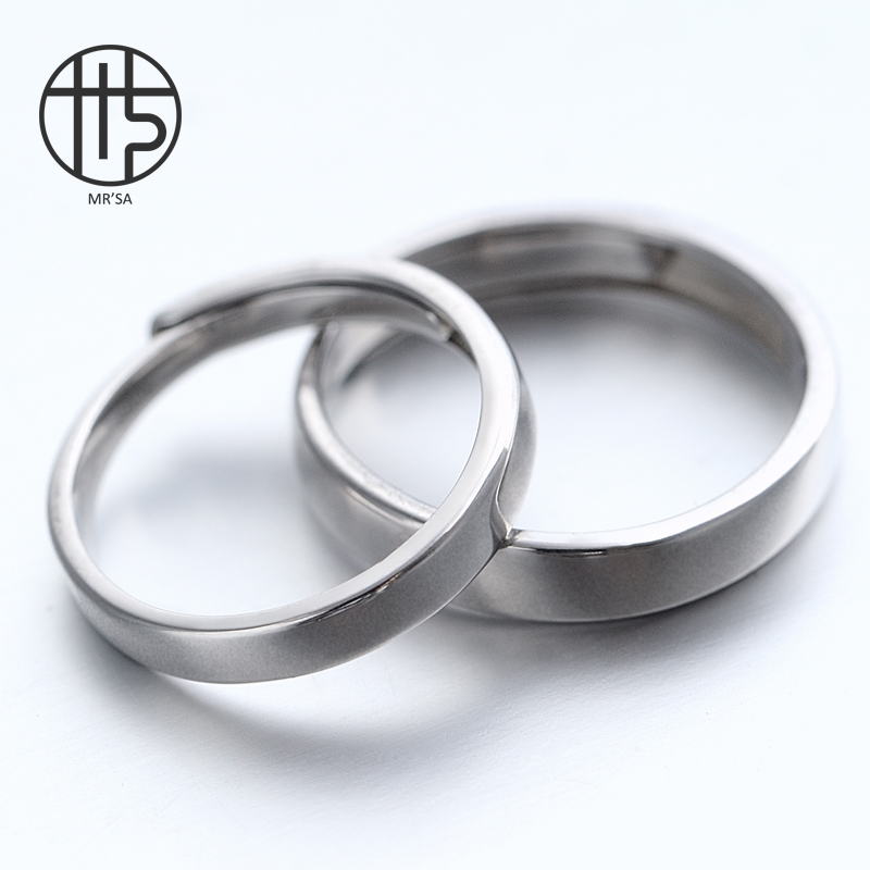 A pair of S925 Sterling Silver movable opening adjustable simple ring