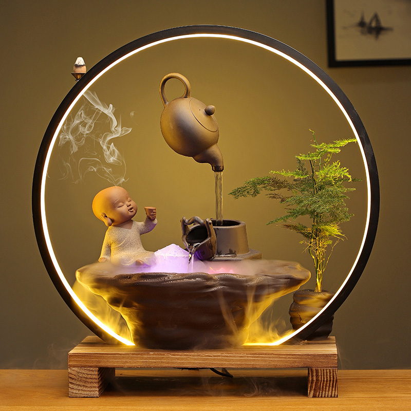 创意悬壶流水摆件灯圈倒流香炉风水招财客厅店铺桌面摆设开业礼品