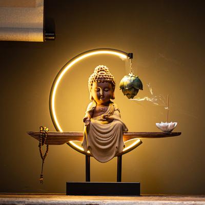 新中式禅意观音菩萨如来佛像摆件陶瓷倒流香炉客厅供奉摆设工艺品