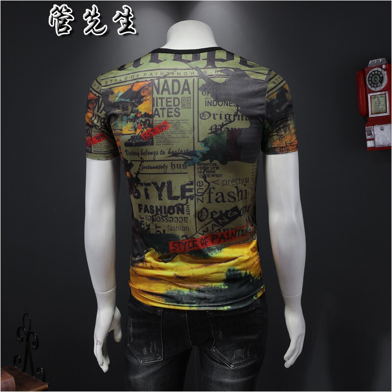 Europe station mens T-shirt short sleeve trend ice silk hollow out printed half sleeve top