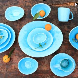 陶瓷餐具套装单人家用北欧西式简约冰裂釉碗盘碗碟套装地中海系列