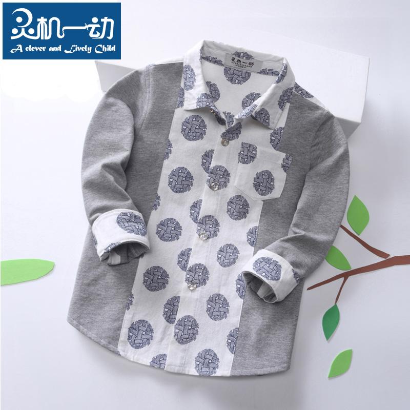 灵机一动童装儿童长袖衬衫 中小童纯棉印花衬衣 韩版休闲翻领上衣