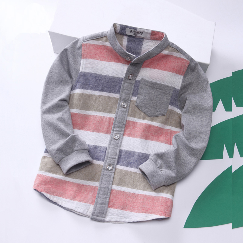 男童条纹衬衫宝宝春秋装休闲长袖衬衣儿童韩版童装纯棉翻领上衣