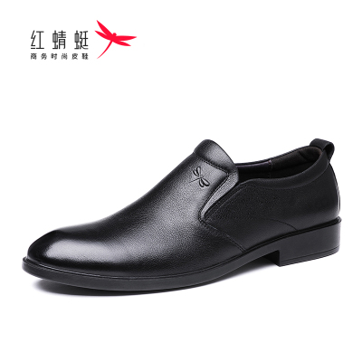 Red dragonfly leather shoes men's shoes men's leather casual business shoes soft sole soft surface spring and autumn new round toe single shoes casual shoes