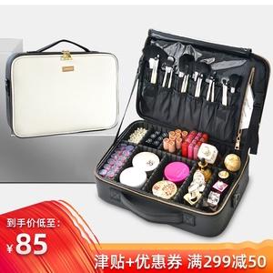 领5元券购买化妆包女便携手提多功能美妆收纳箱