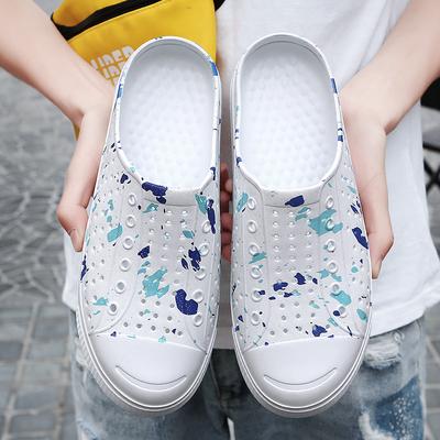 夏季涉水鞋情侣透气半托包头洞洞鞋男迷彩沙滩鞋懒人鸟巢白色拖鞋