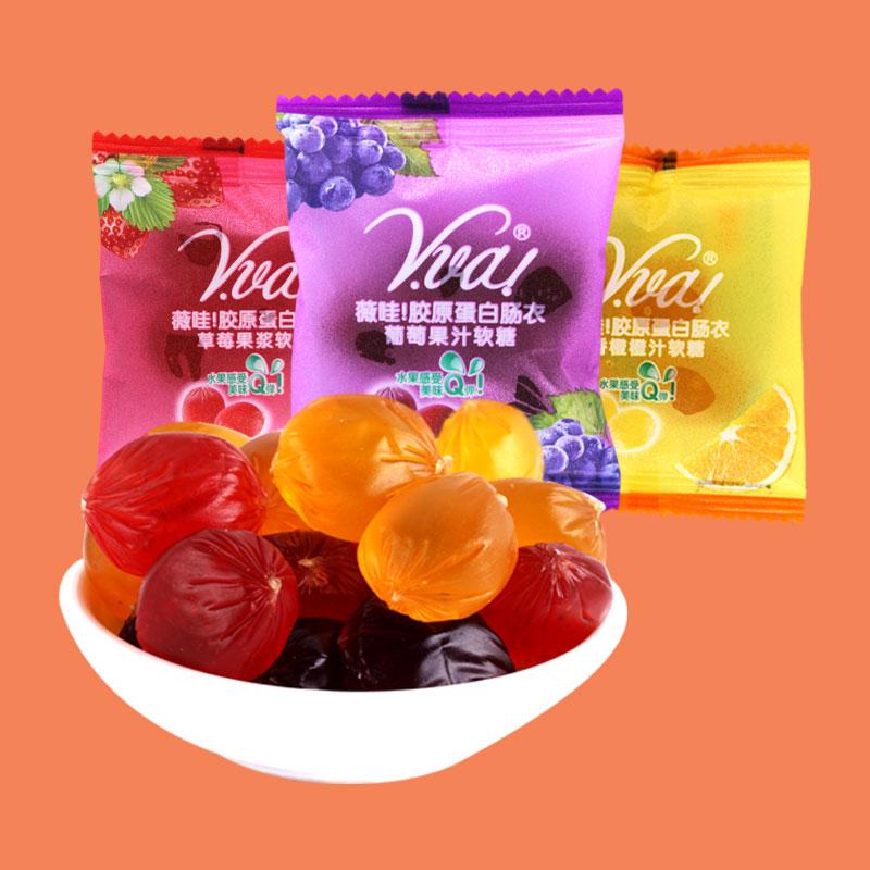 奇峰薇哇果汁软糖水果糖qq糖橡皮糖儿童零食糖果喜糖批散称250g