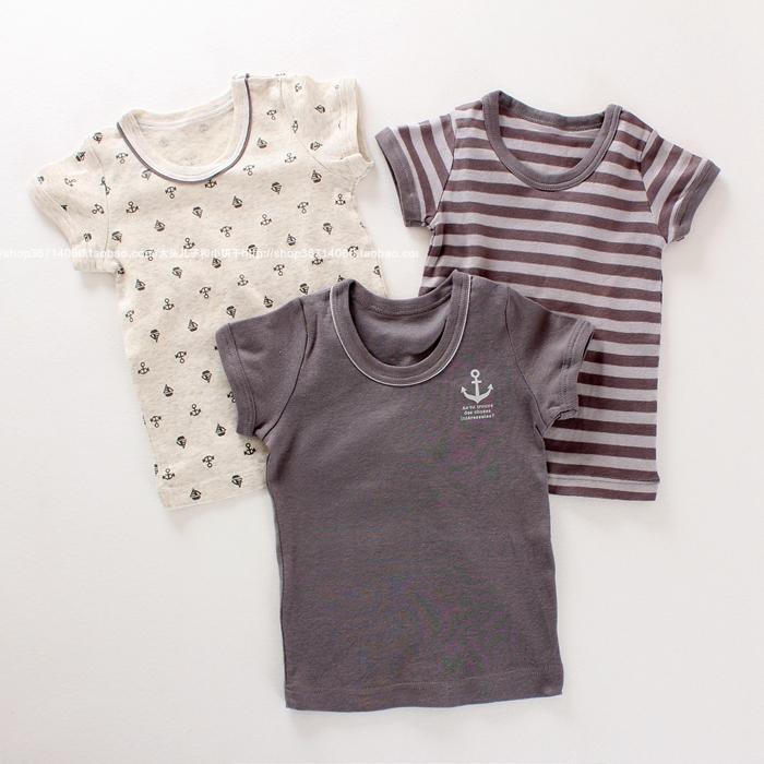 2020夏新日系童装男童宝宝婴儿纯棉轻薄短袖T恤半袖经典海军风