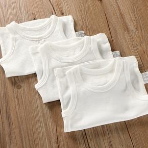 纯棉无袖背心婴儿宝宝吊带儿童装内衣男童女童打底衫睡衣薄纯白色
