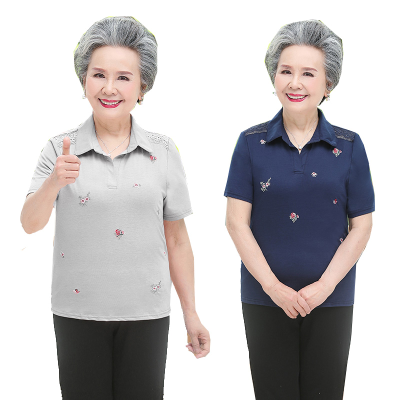 Middle aged and old peoples short sleeve T-shirt embroidered womens top loose collar granny summer Polo Lapel bottomed shirt