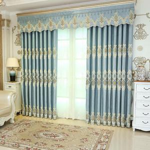 定制高档欧式大气奢华窗帘纱布料落地客厅刺绣花雪尼尔遮光成品