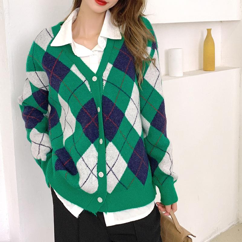 Net red sweater womens Retro diamond sweater early autumn loose coat versatile womens clothing 2021 autumn new