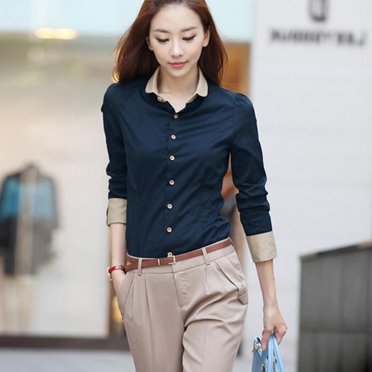藏蓝衬衫女春秋款大码领带衬衣韩版收腰时尚撞色商务职业工作服装