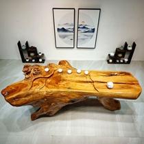 实木根雕茶台整体树根香樟木雕大型茶几阳台树桩原木头茶桌椅组合