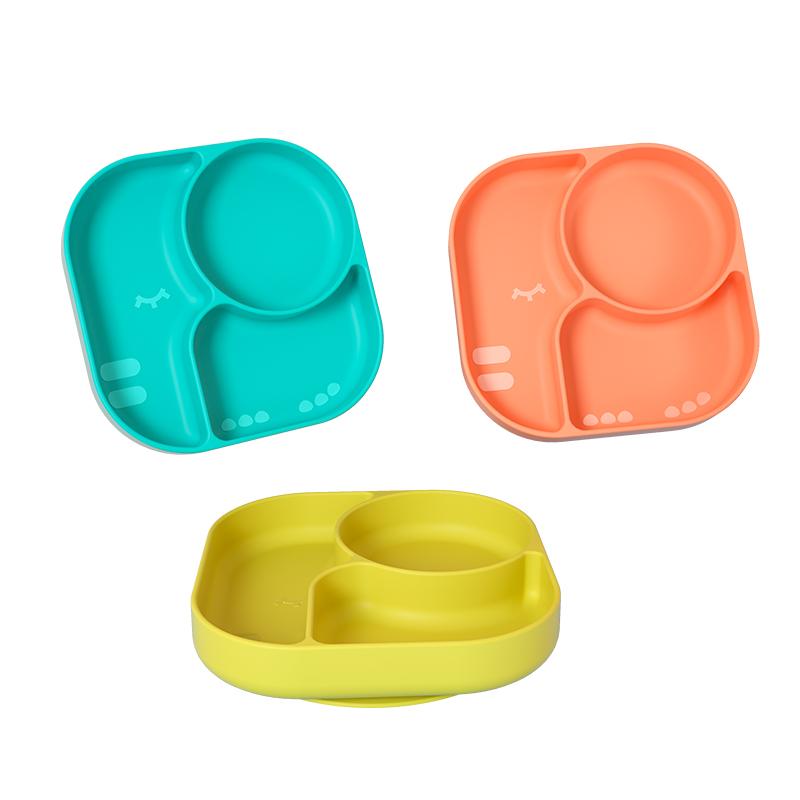 贝恩施宝宝餐盘婴儿吸盘一体式儿童辅食硅胶分格盘吃饭碗勺套装