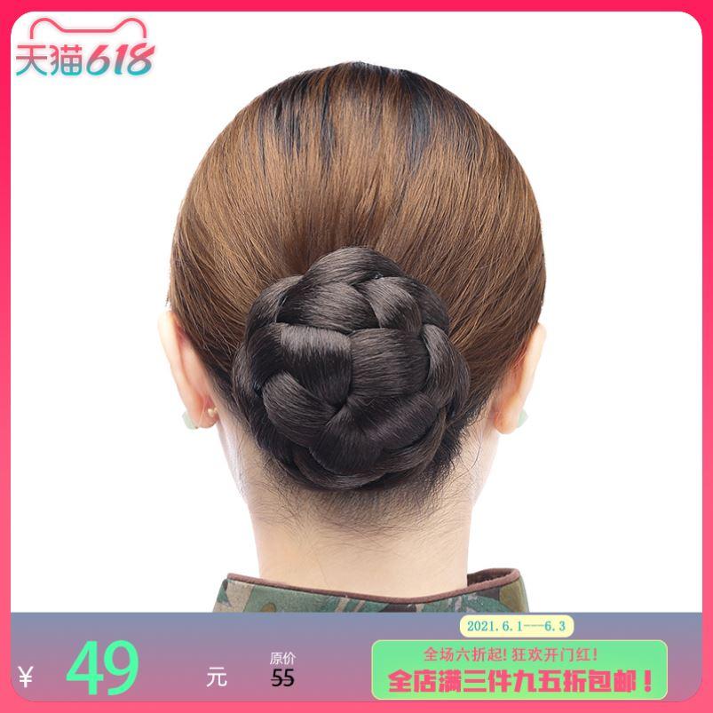 Jiaodidi wig small contract fashion retro bun bridal wig pill hair bud flower bud head