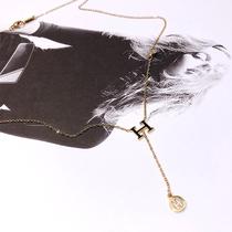 欧美时尚钛钢H项链女玫瑰金色锁骨链百搭H字母颈链不褪色毛衣项链