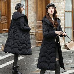 羽绒棉服女中长款修身显瘦韩版收腰小个子连帽棉衣冬天外套女棉袄